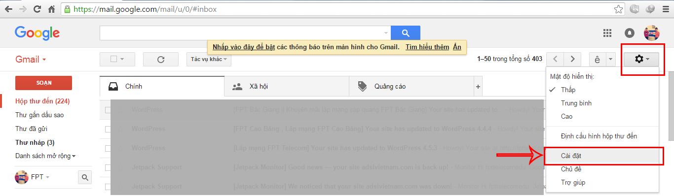 Cài đặt chữ ký trong gmail