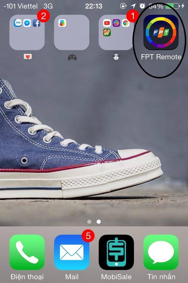 Sau khi tải ứng dụng FPT Remote về điện thoại sẽ hiển thị trên.