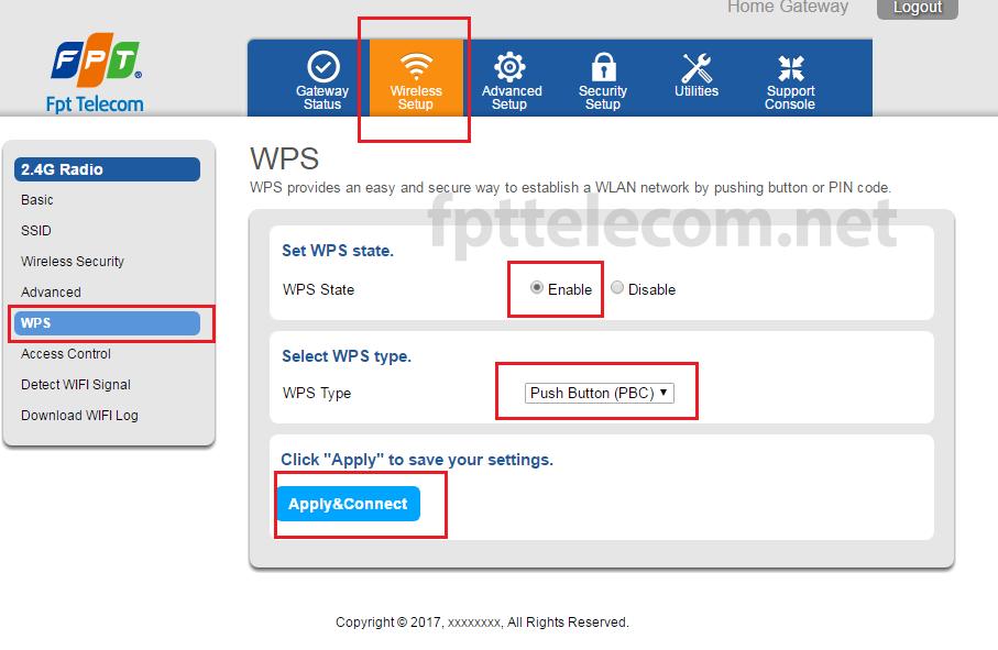 Cài đặt WPS trên Modem wifi FPT