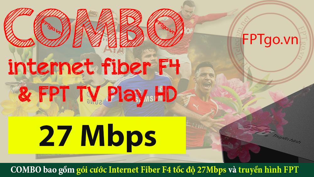 Gói cước Internet Cáp quang FPT Fiber F4 Và dịch vụ truyền hình FPT
