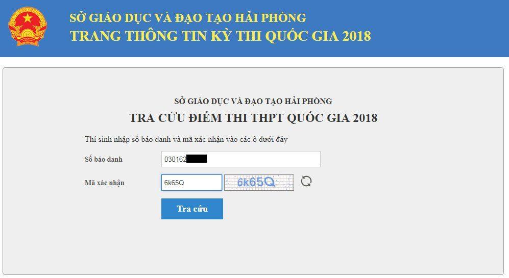 Điền số báo danh tra cứu điểm thi THPT 2018