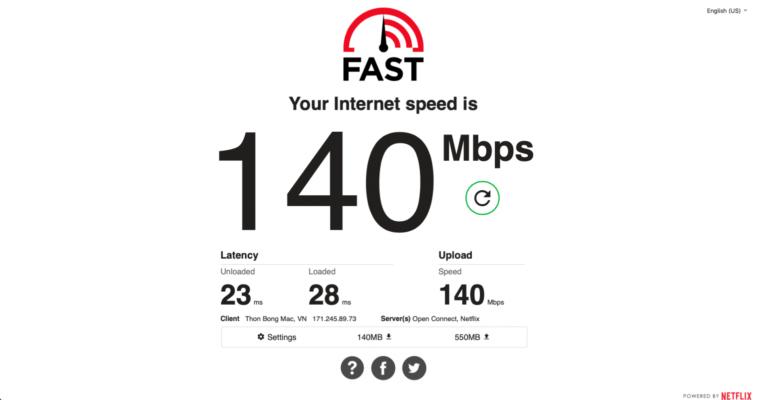 Kết quả kiểm tra SpeedTest