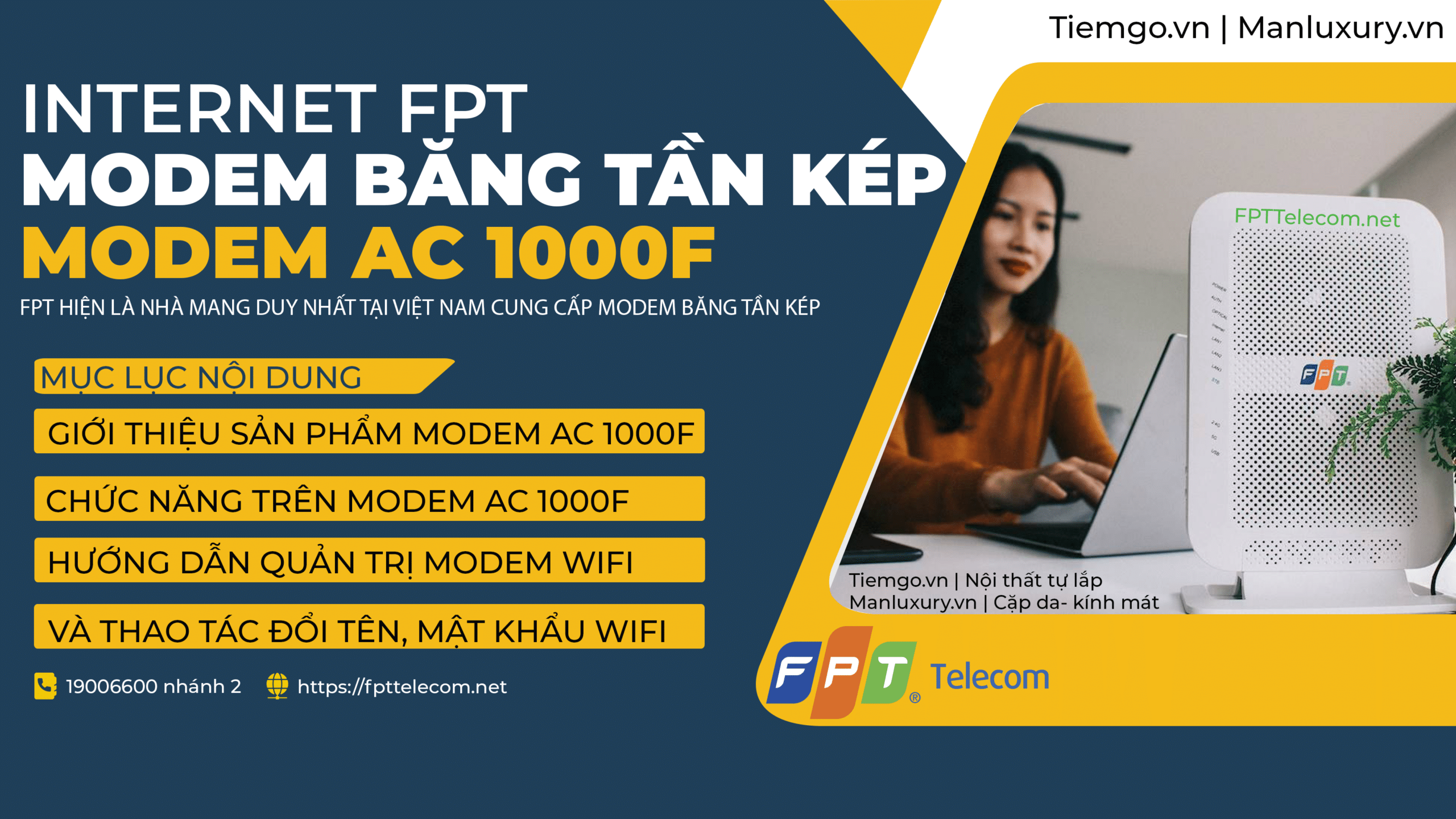Modem wifi AC100F mới nhất FPT Telecom