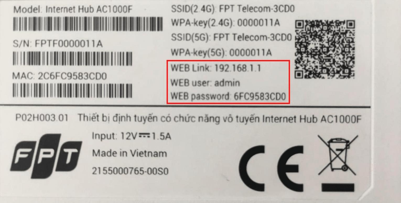 Thông tin đăng nhập modem wifi AC1000F của FPT