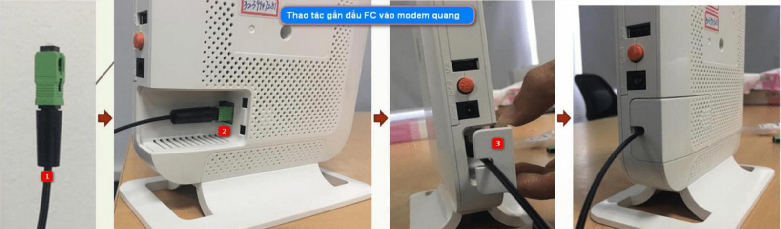 Theo tác gắn đầu cáp quang FC vào modem